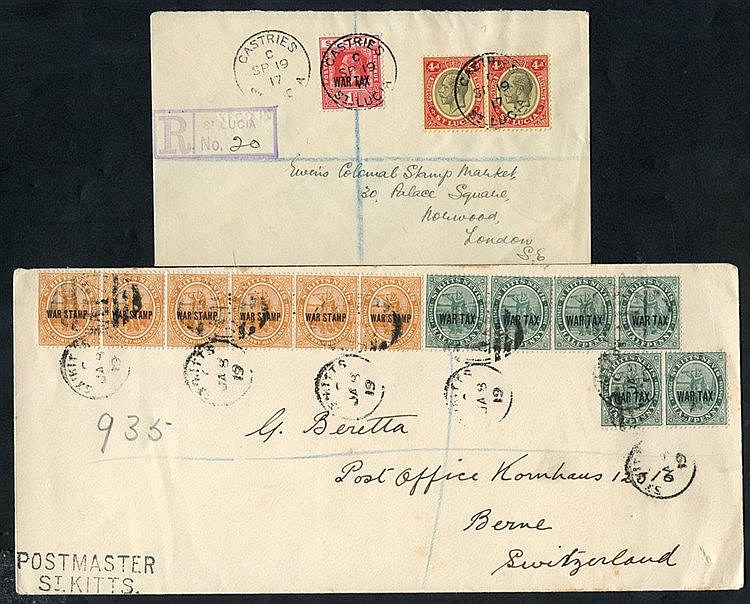 1919 registered envelope to Switzerland, franked strip of four