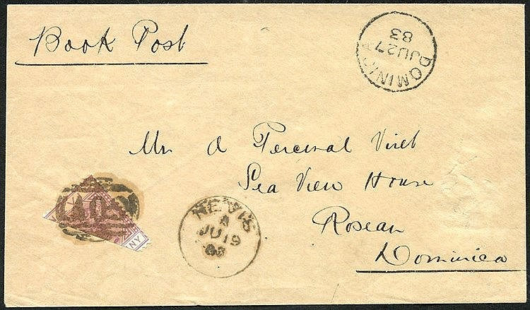 NEVIS 1883 env sent from Nevis to Roseau, Dominica, bears m/s end