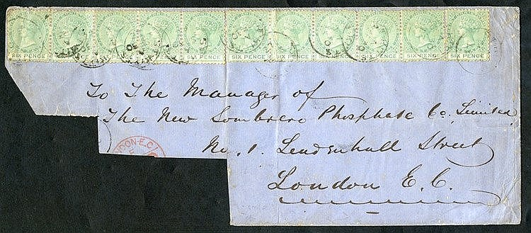 ST. CHRISTOPHER 1872 (30 Sep) large part envelope to London, bear