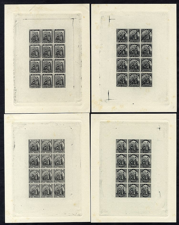NEVIS 1861 1d, 4d, 6d & 1s - set of four sheetlets of 12, plate p
