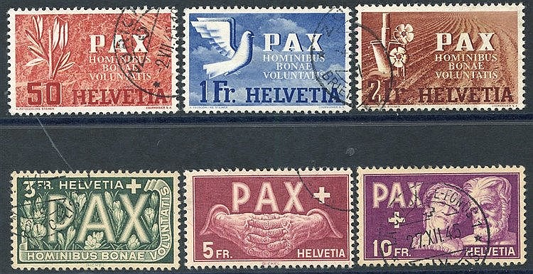 1945 PAX 50c, 1f, 2f, 3f, 5f & 10f, all VFU, SG.452, 455/459. Cat