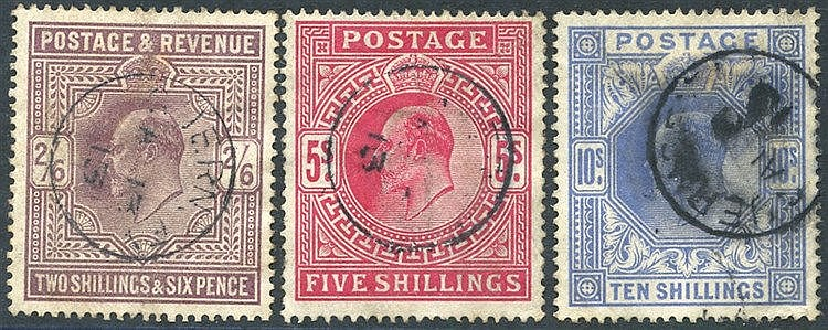 1911-13 2/6d, fine c.d.s for Jan 1913, 5s with 1913 c.d.s (perf f