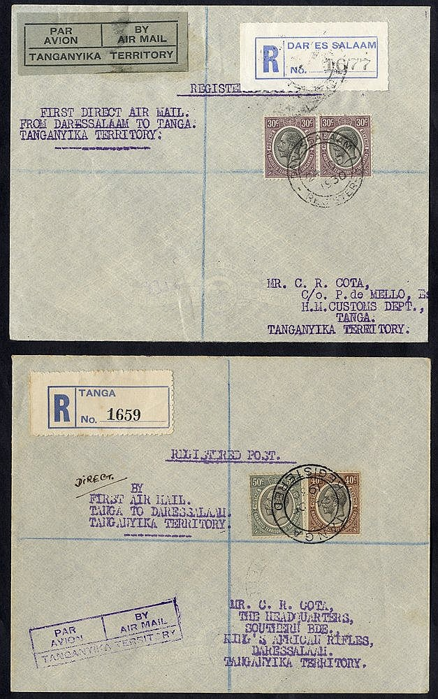 1930 Dec 24th GOVERNMENT first flight Dar Es Salaam - Tanga reg c