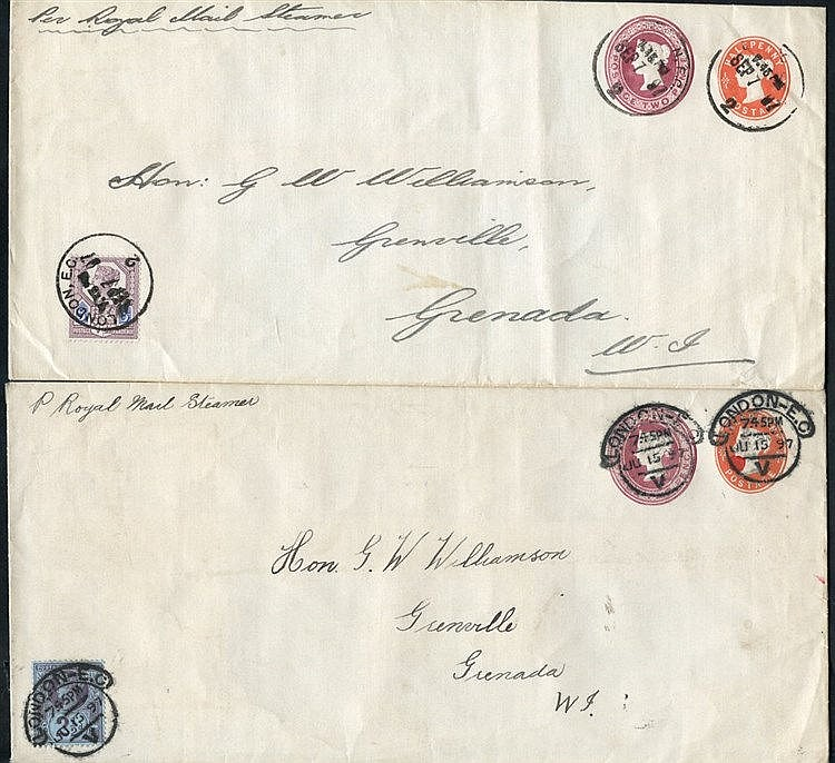 1897 QV ½d + 2d compound envelopes (2) from London to Grenada, We