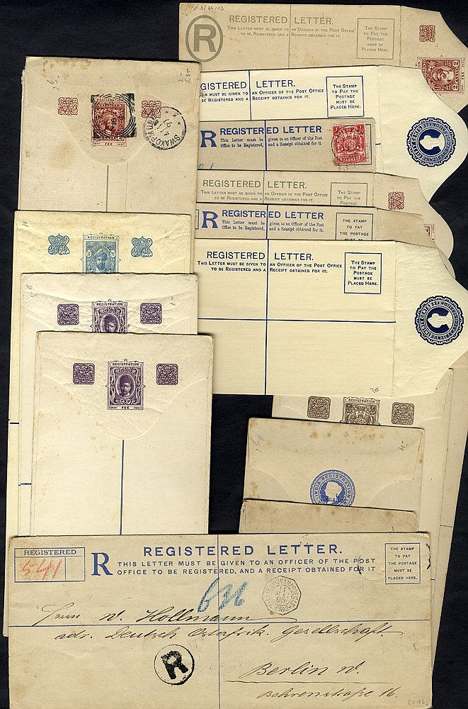 1895-1940 circa range of 17 registered stationery envelopes in mi