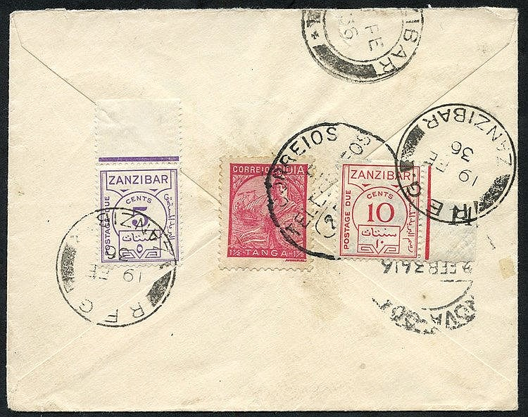 1936 small underpaid cover with large T20c on obverse, reverse sh