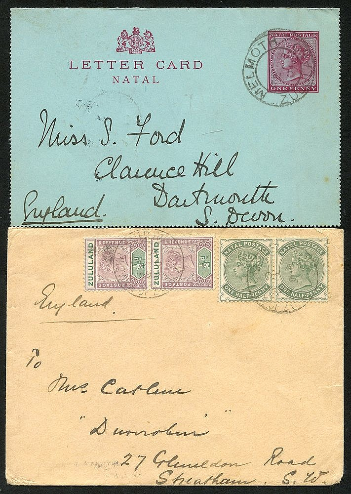 1899 (6 Oct) double rate env from Eshowe to England, bearing 1894