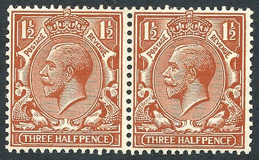 1912 1½d chestnut UM pair incl. PENCF error, SG.364a. (2)