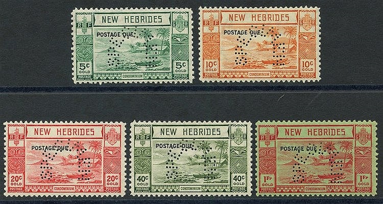 1938 Postage Due set, perforated SPECIMEN, fine M, SG.D6/10. (5)