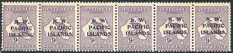1915-16 first wmk 9d violet strip of six being the bottom row of