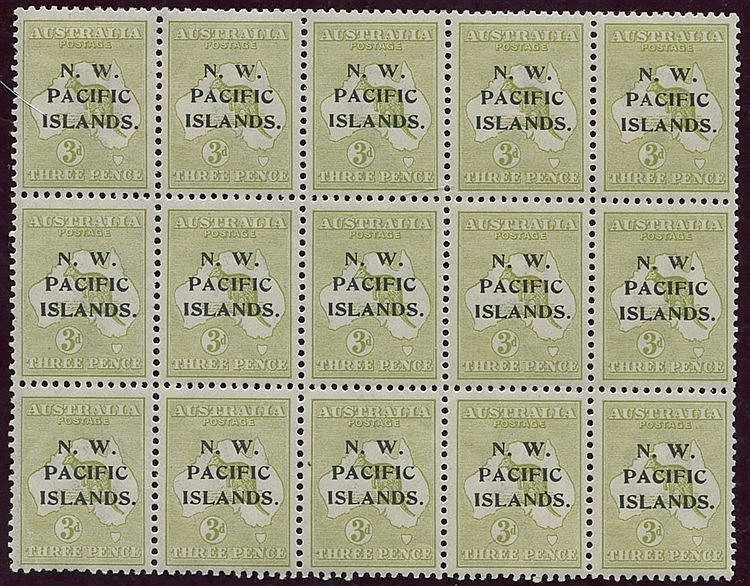 1918-22 Kangaroo 3d greenish olive block of fifteen showing two D