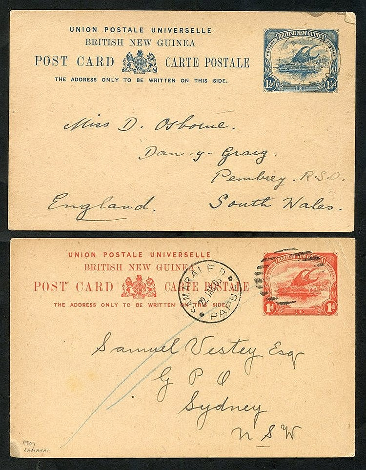 1908 1d stationery card used from Samarai to Sydney, cancelled by