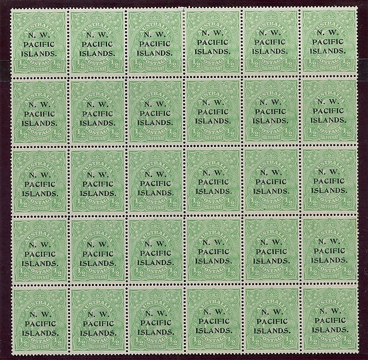 1915 (Jan-Mar) second wmk ½d green complete formes from - Fourth