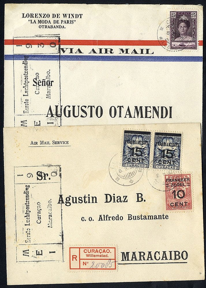 SURINAME/CURACAO 1929-43 first flight covers (8) comprising 1929