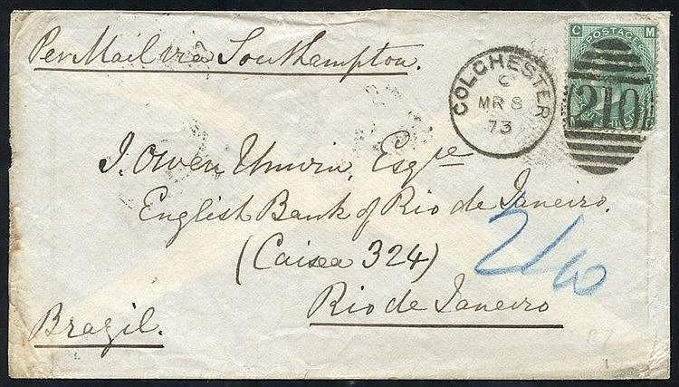 BRAZIL 1873 cover to Rio de Janeiro, franked 1s green Pl.7 (SG.11