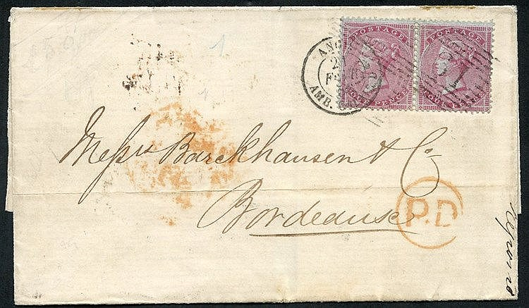FRANCE 1856 cover from Scotland to Bordeaux, franked 4d carmine o