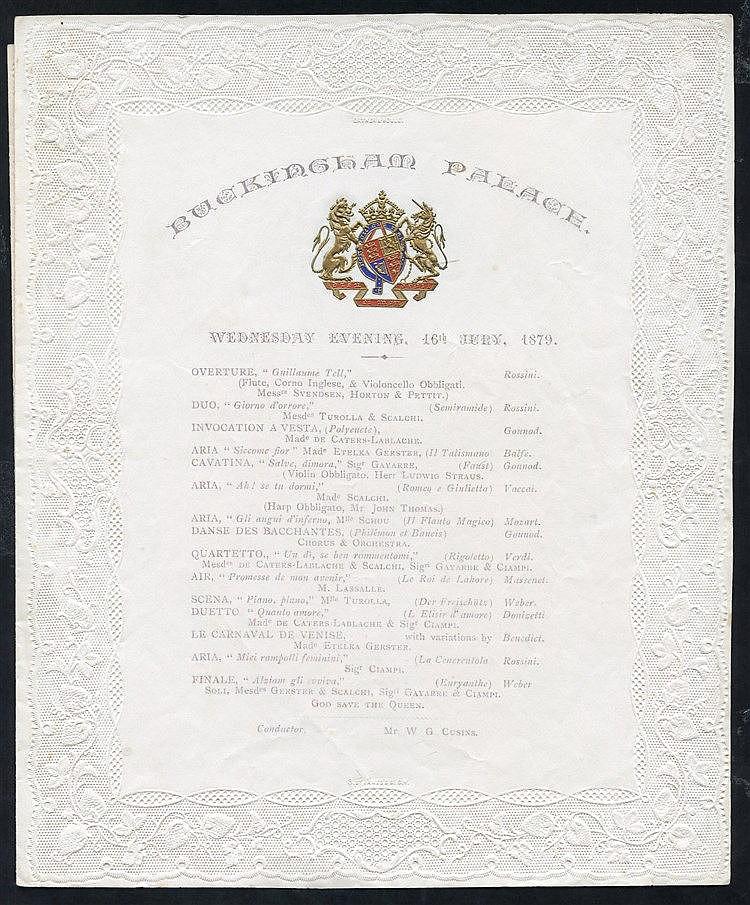 Ephemera 1872 & 1879 two fancy embossed Buckingham Palace music p