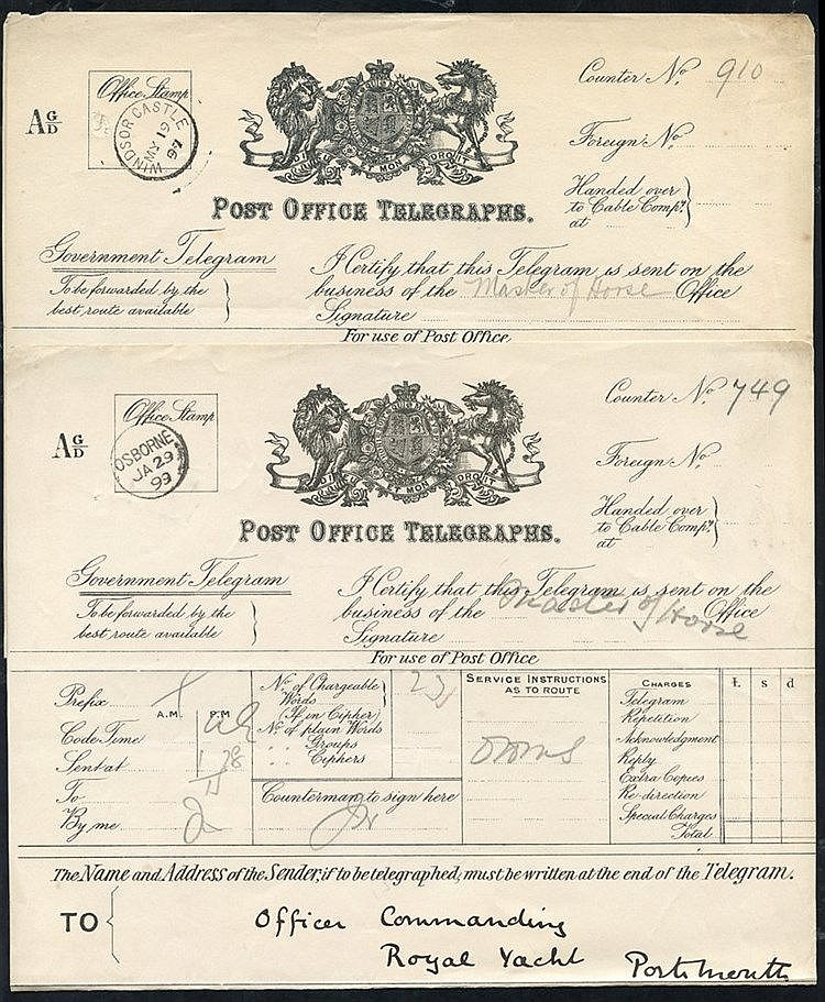 1897 & 1899 Royal Telegrams (2), one with Windsor Castle My.1.97