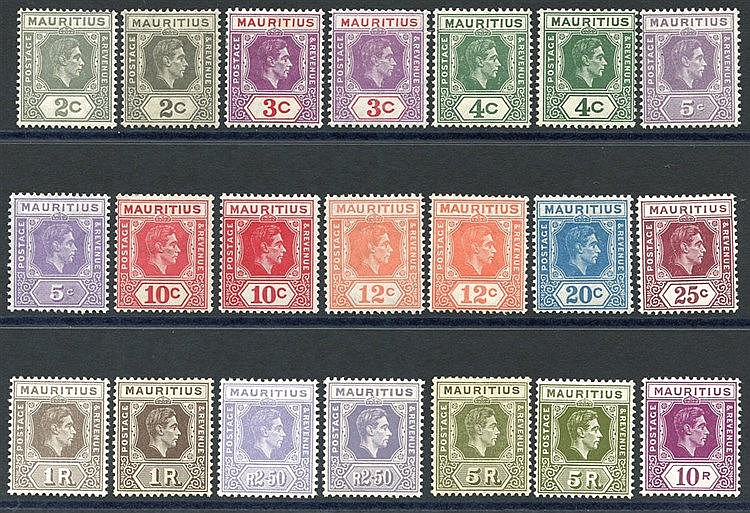 1938-49 Defin set incl. most listed shades & perfs, fine M, SG.25