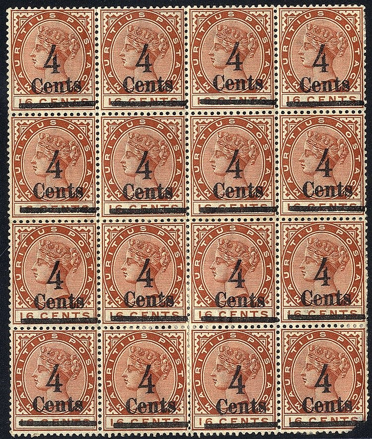 1900 Surcharged locally 4c on 16c chestnut M block of 16, some pa