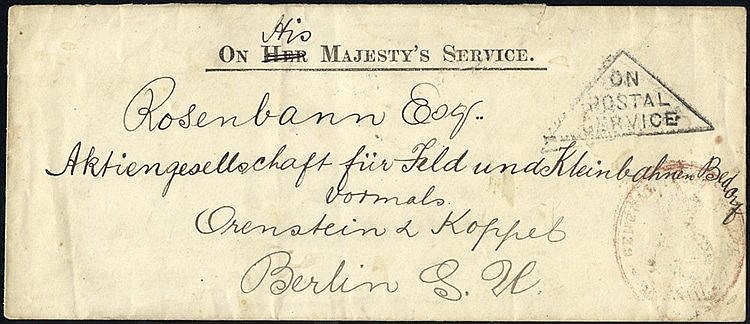 1903 long OHMS cover to Berlin, triangular ON POSTAL SERVICE in b