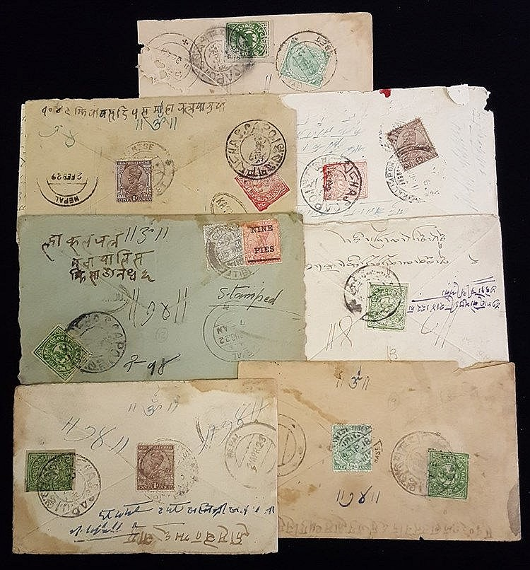 1918-20's group of covers with various Tibetan Tranka imperfs use