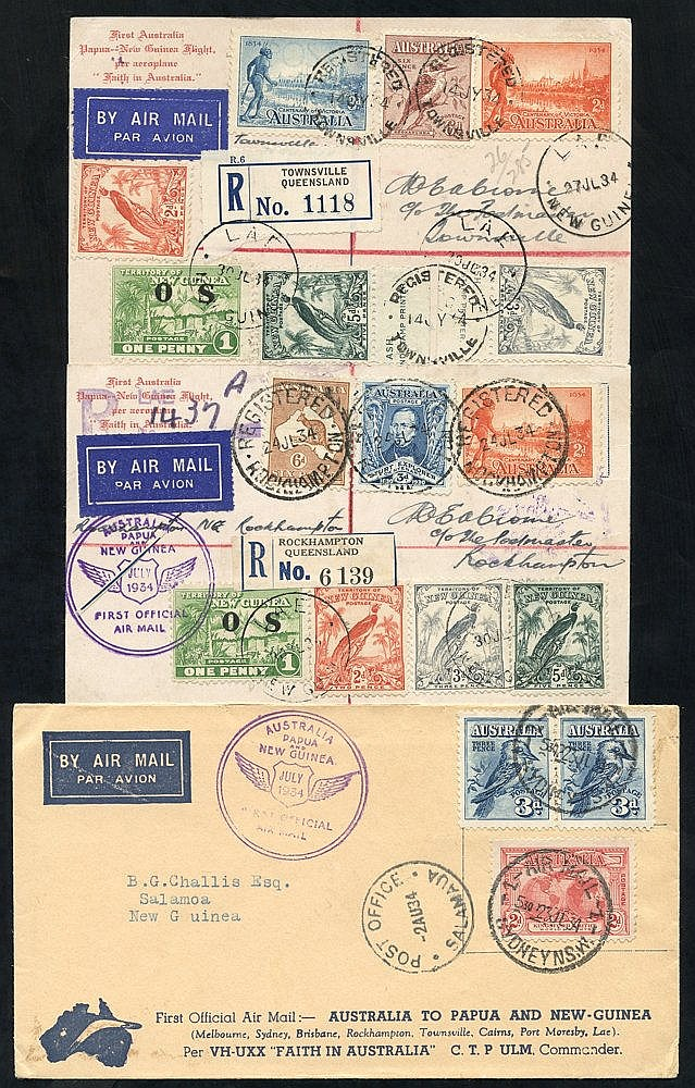1934 (July/Aug) Australia-Papua flown covers (3) and special card