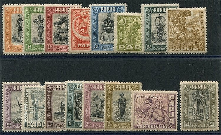 1932-40 Pictorial Defin set, 5s some toning on top perfs, £1 gum
