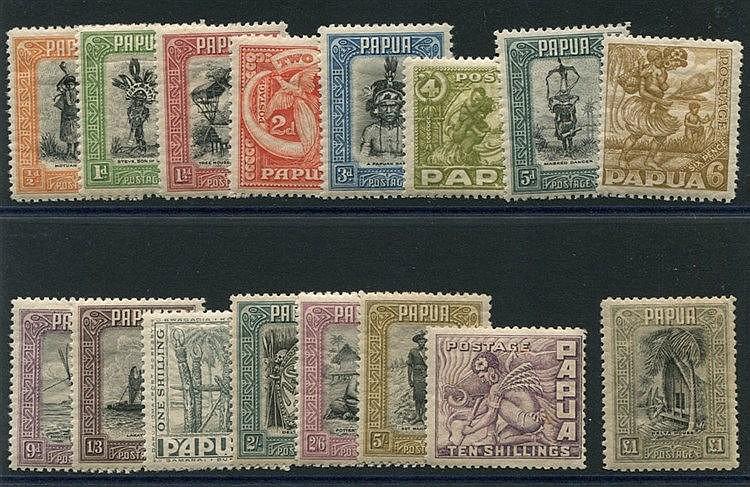 1932-40 Pictorial Defin set, M (10s tone spots), SG.130/145. (16)
