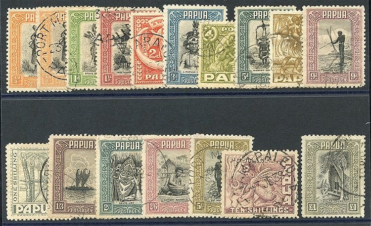 1932-40 Pictorial Defin set, FU (odd blunt perf & £1 value tiny n