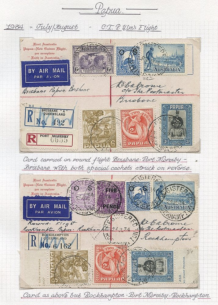 1934 (July/Aug) Australia-Papua-Australia four flown special card
