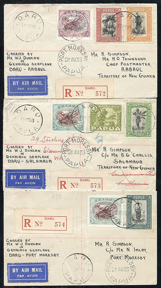 1933 (Aug 19) Daru-Port Moresby flown covers (2), 1933 (Aug 26) P