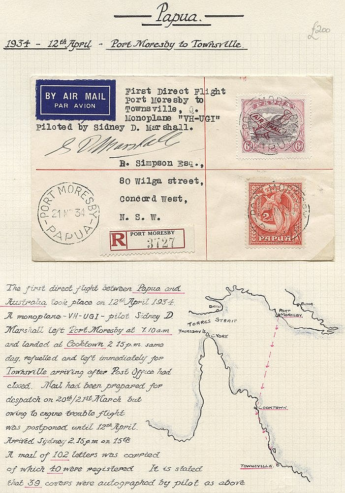 1934 (Apr 12) Port Moresby-Australia, registered flown cover by t
