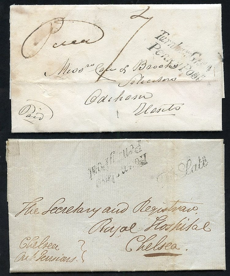 LONDON 1838-43 entire letters & covers carried by the London Cros