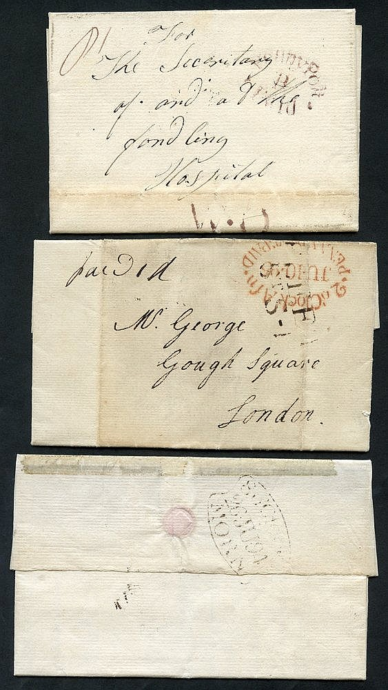 LONDON 1794-95 entire letters (4) and a piece all posted into the