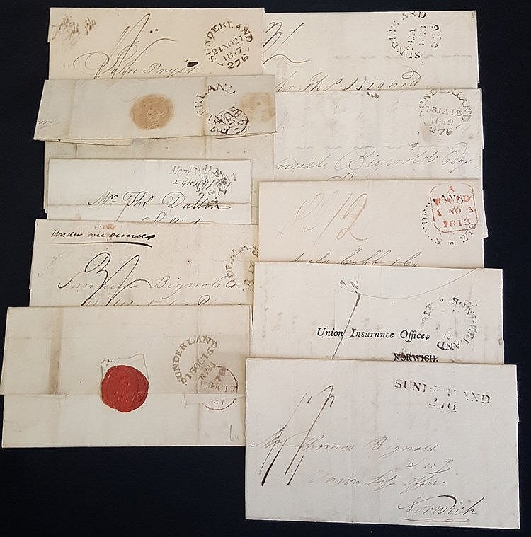 SUNDERLAND 1798-1938 range of 24 covers incl. 1798 Sunderland hor
