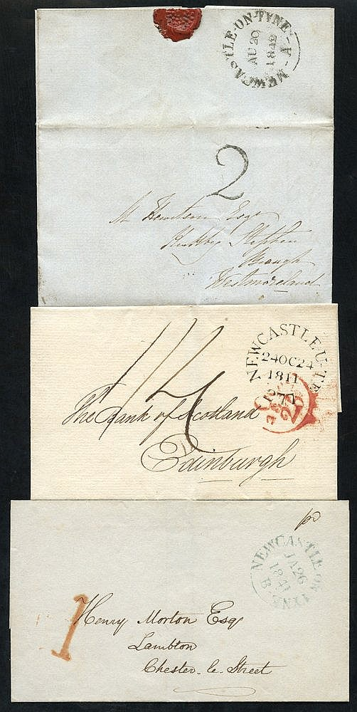 NEWCASTLE UPON TYNE 1825-47 range of 10 covers neatly written up