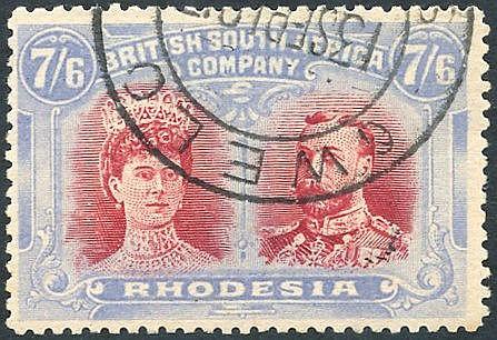 1910-13 7/6d carmine-red & bright (grey) blue, RSC 'C' c.t.o rema