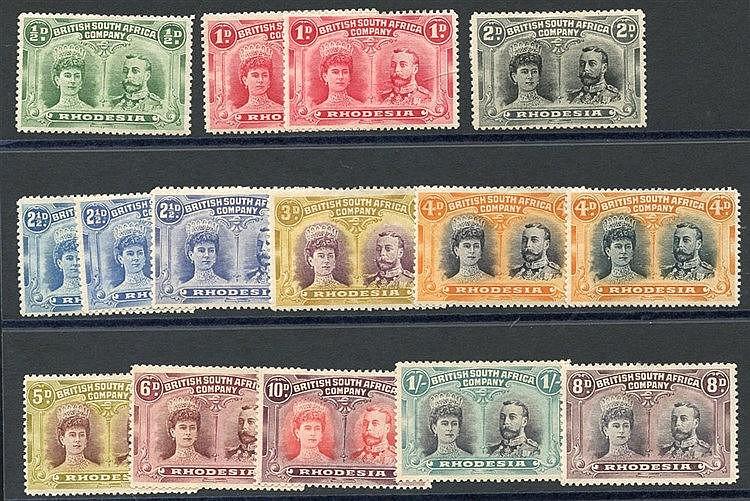 1910-13 Double Heads P.14 ½d, 1d (2), 2d, 2½d (3), 3d, 4d, 5d, 6d