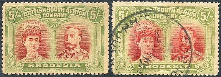 1910-13 5s crimson & yellow-green, fine M, another FU but thinned
