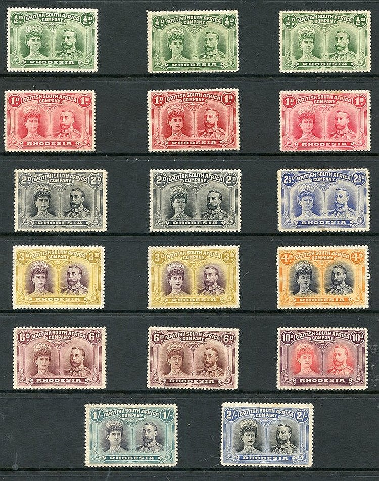 1910-13 perf 14 double heads M or o.g range ½d (3), 1d (3), 2d (2