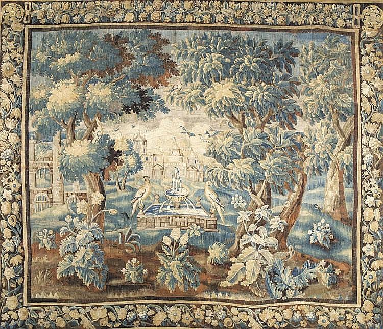 Tapisserie dite verdure figurant des volatiles sur une fonta - Repeindre sur une tapisserie ...