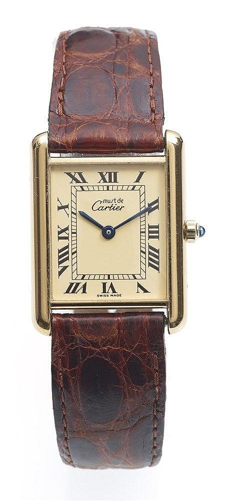 CARTIER - Montre Tank Must de Cartier en argent plaqué or 20 microns,