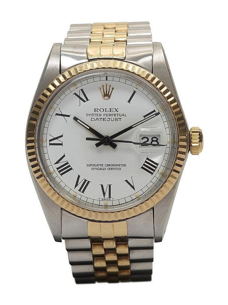 Montre Rolex Datejust or et acier réf.16013 lunette canelée, cadran