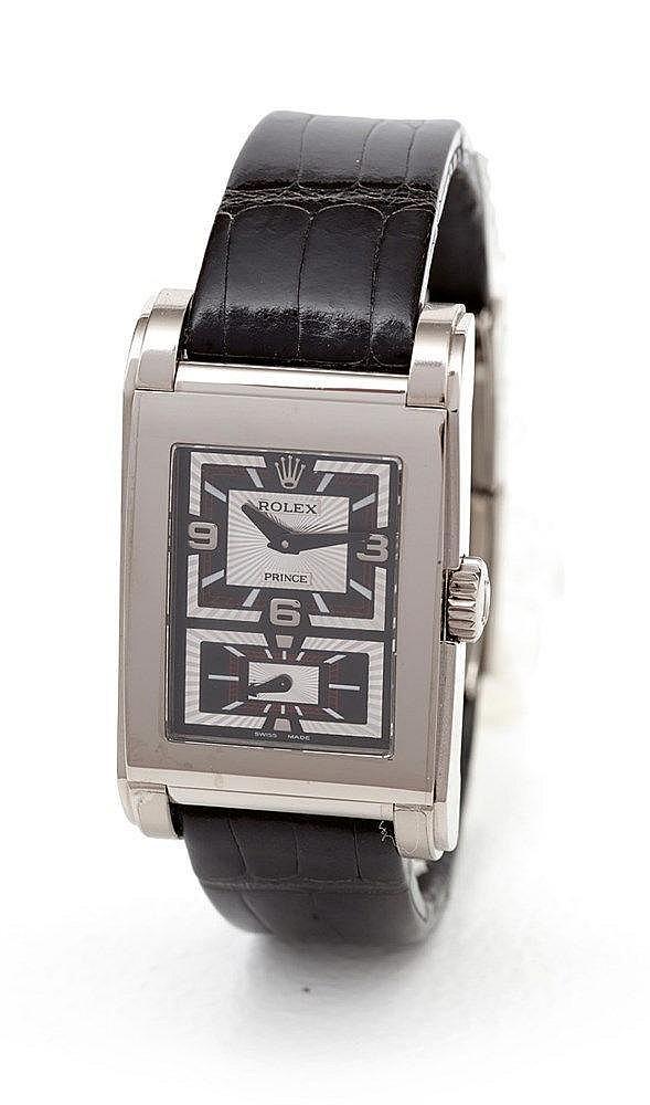 ROLEX - Montre Rolex modèle Prince en or gris réf. 5443/9, boite rec