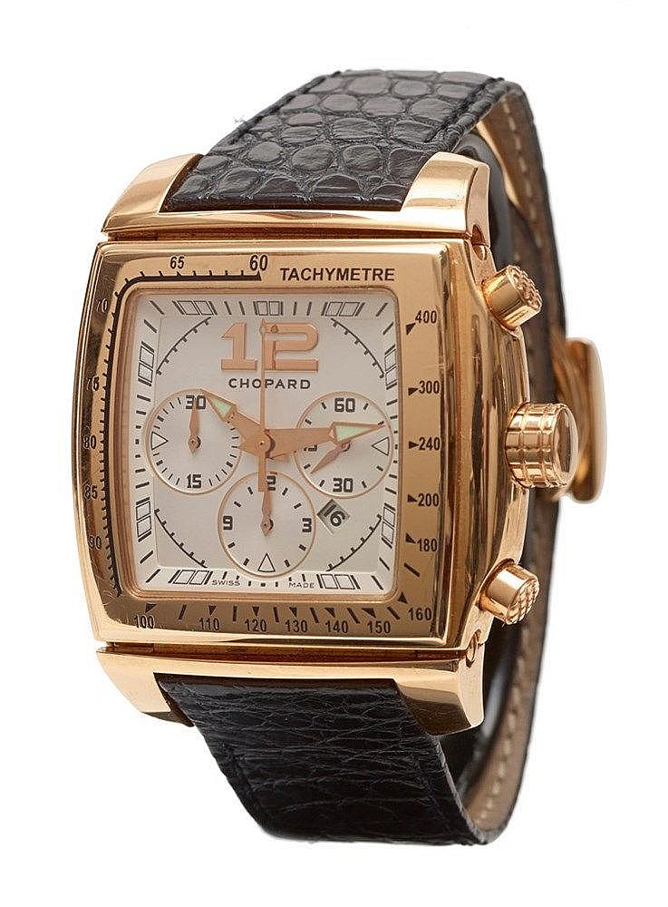 CHOPARD - Montre signée Chopard chronographe en or rose 18 K (750 mil