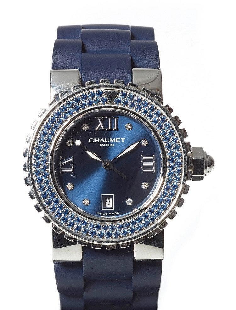 CHAUMET - Montre de dame n°622-15156 Boite en acier, cadran nacre bleu