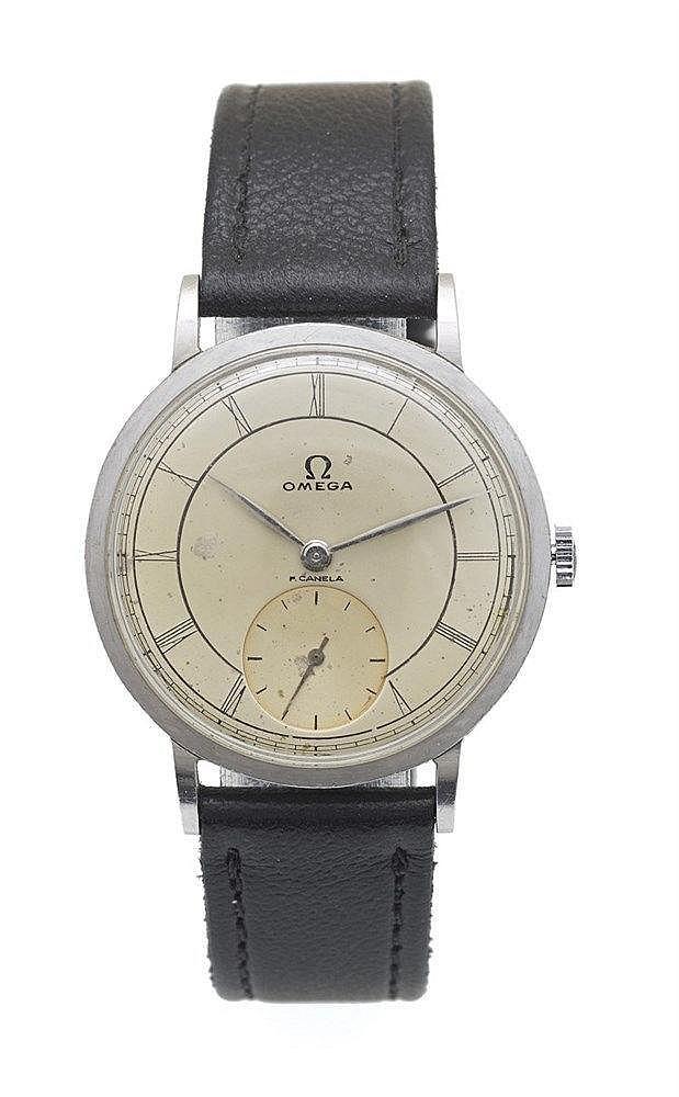 OMEGA - Montre Omega acier avec petite seconde à 6h00, cadran blanc c