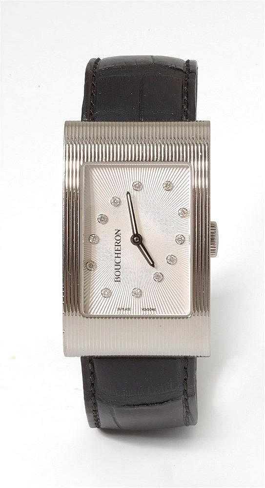 BOUCHERON - Montre en acier signée Boucheron Reflet diamants, cadran