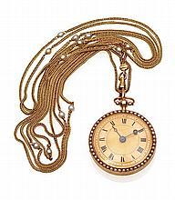 ANONYME - Montre de dame style châtelaine en or 18 K (750 millième),